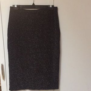 Black glittery metallic midi skirt